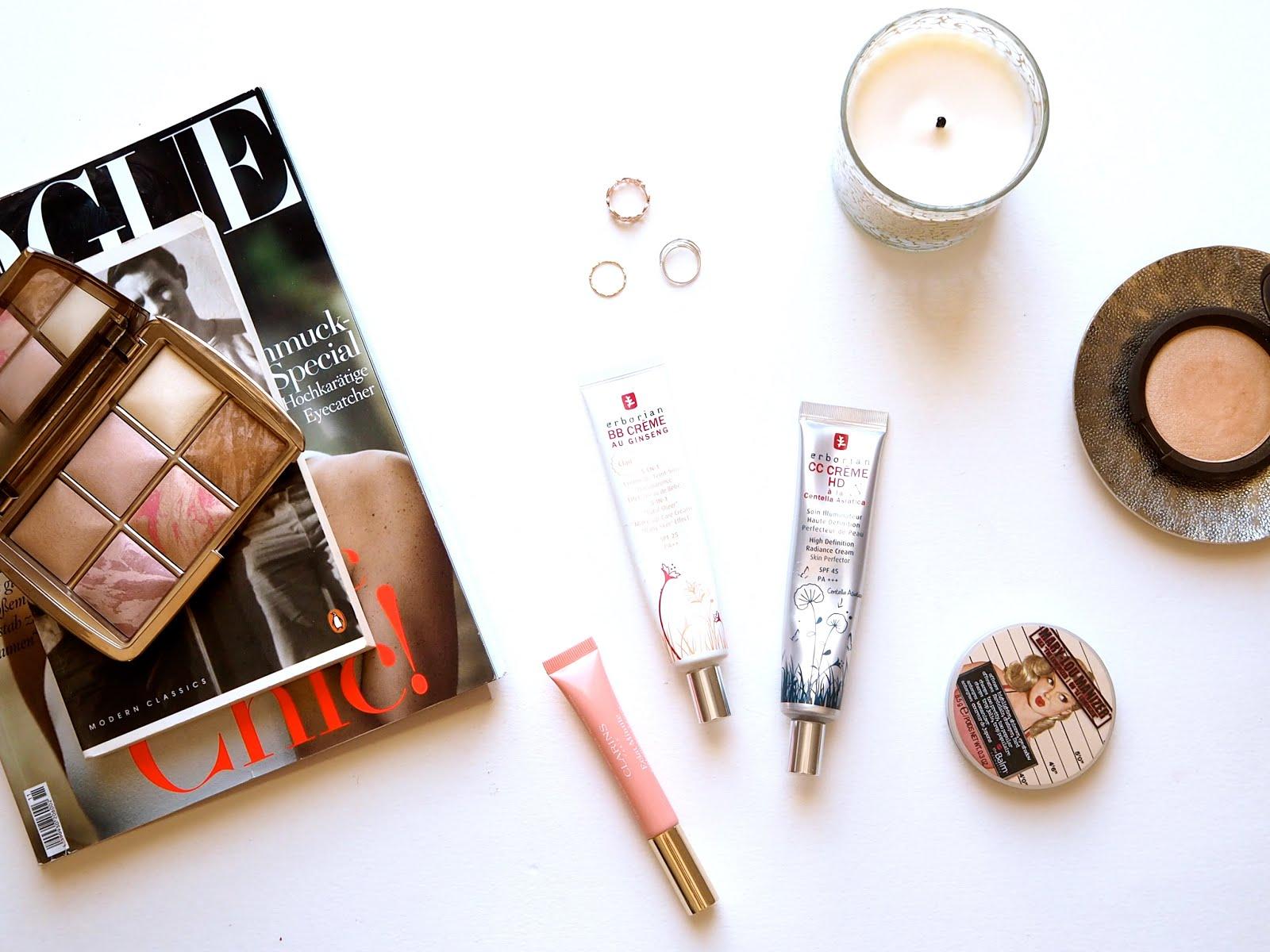 glowy makeup, highlight, glowy base, hourglass ambient lighting edit, clarins instant light lip perfector, erborian cc cream, bb cream, mary lou manizrer, becca champagne pop