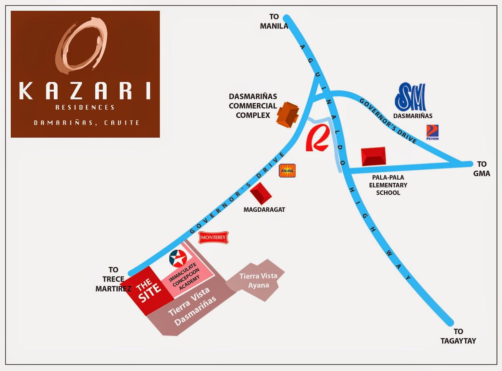 Camella silang tagaytay drina house and lot for sale in tagaytay city - Kazari Residences Vicinity Map
