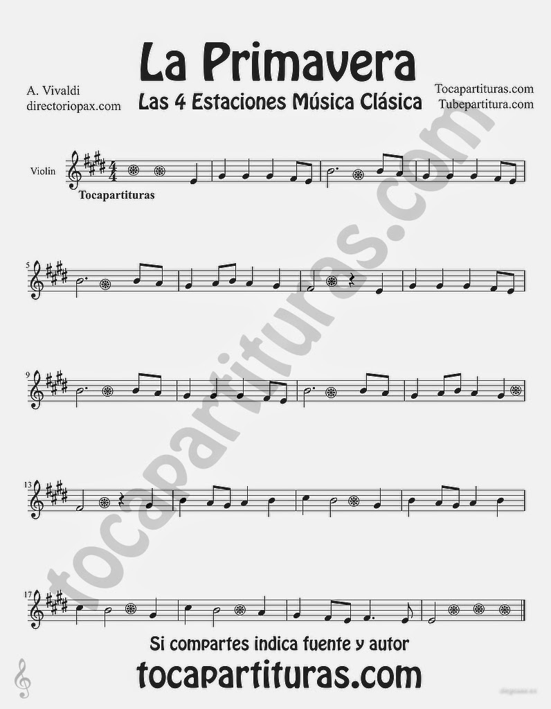 """Tubepartitura La Primavera de Antonio Vivaldi Partitura para Violín """"Las Cuatro estaciones de Vivaldi"""""""