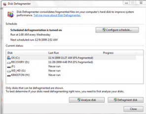 Hard disk defragment process with windows 7