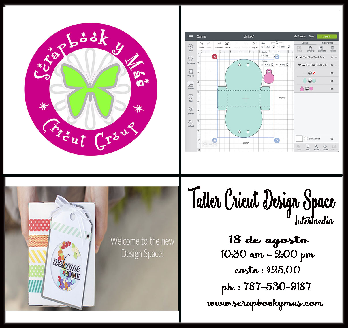 18 de agosto - Taller Cricut Design Space Intermedio