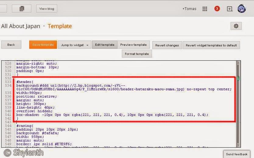 HTML Editor Blogger, #header