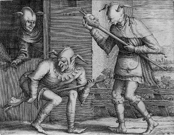 средневековая гравюра Питер Брейгель Старший; Хендрик Хондиус I (Издание, печать), Три шута на карнавала, 1642