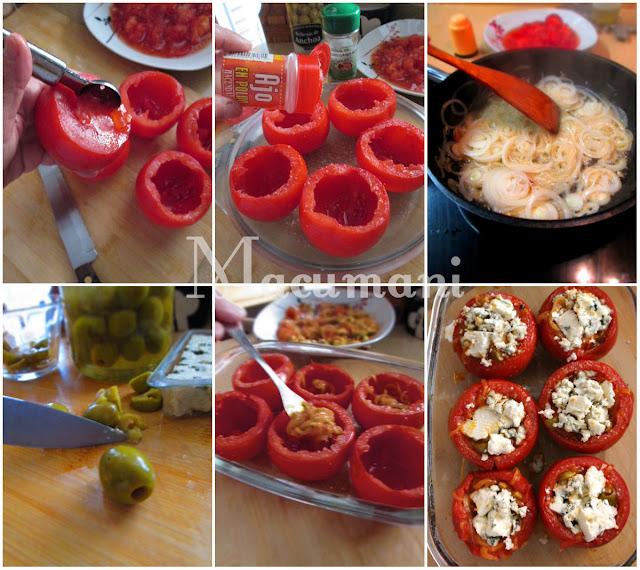 Receta de tomates rellenos con queso azúl  al horno