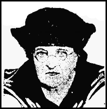A headshot of a stern-looking middle-aged woman with a sailor collar and black hat