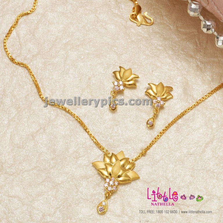 Gold lutus chain for kids by Nathella little Latest Jewellery Designs