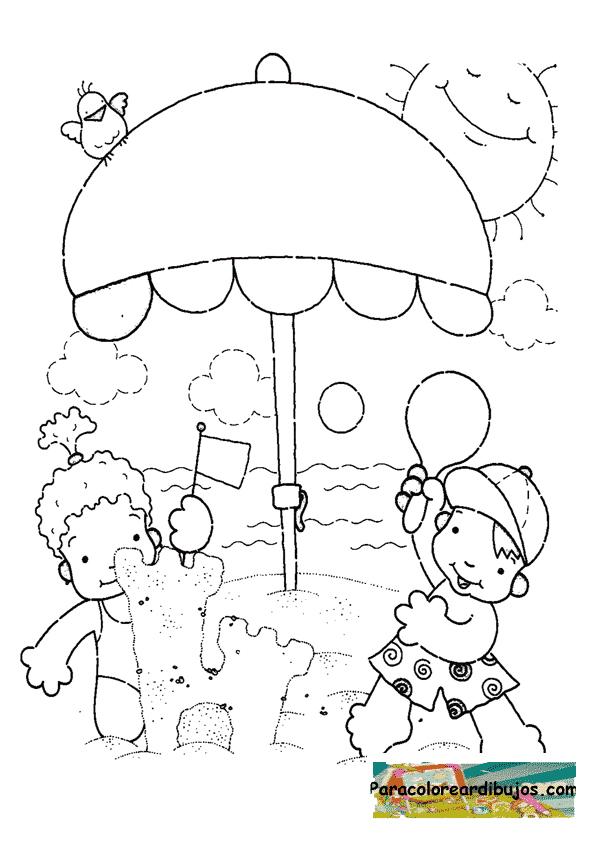 niños jugando en la playa para colorear | Para colorear dibujos y ...