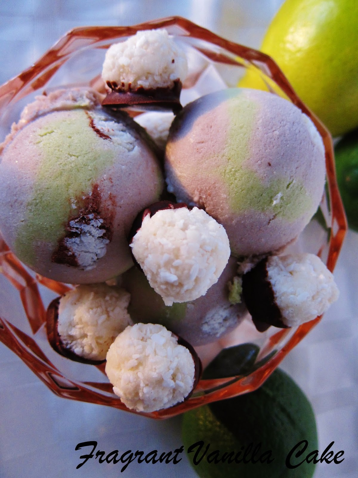Coconut Ice Cream (coconut ice cream with lime swirl, and macaroons ...