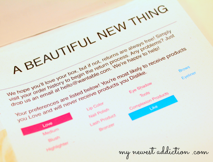 wantable january 2014 makeup subscription box packing slip