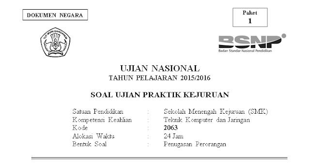 Soal Ujian Paket Kejuruan TKJ Paket 1 2016