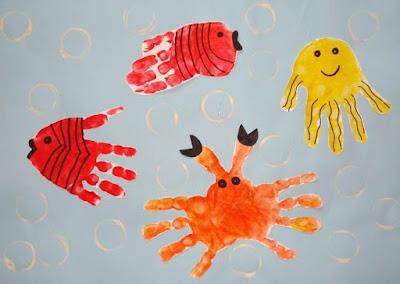Crabe, méduse et poissons