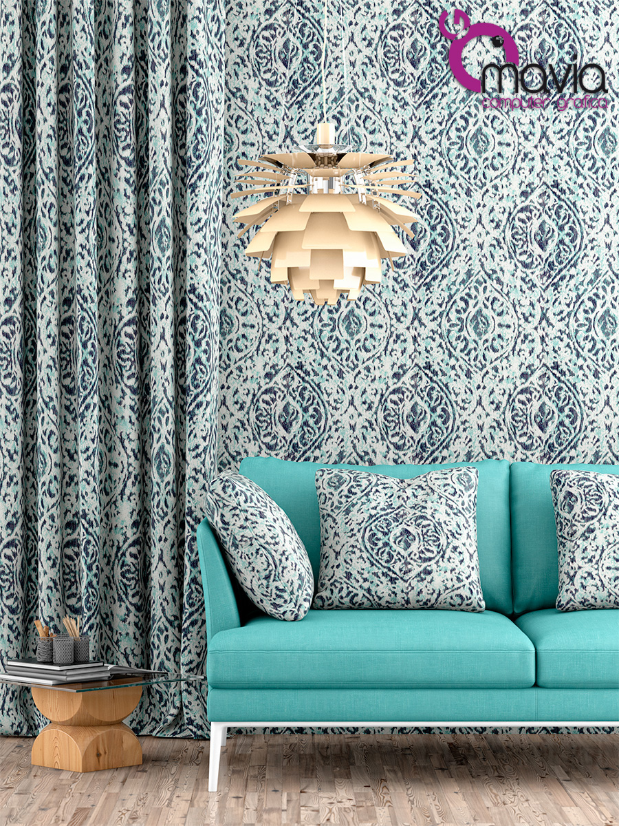 Arredamento di interni rendering 3d tessuti divani tende for Tessuti per arredamento on line