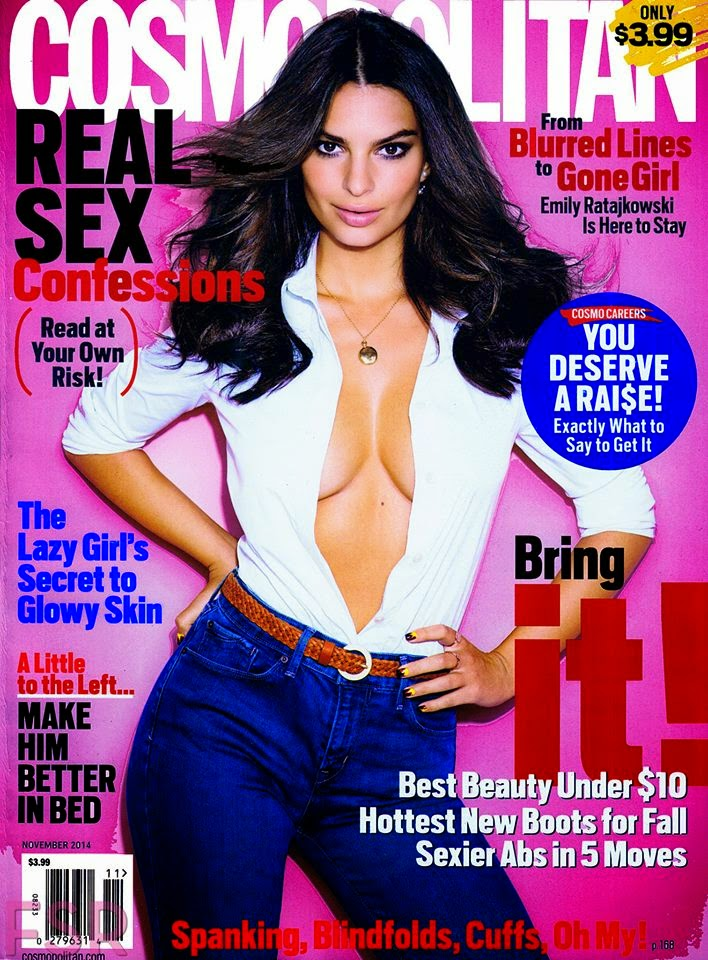 Emily Ratajkowski poses braless for Cosmopolitan US November 2014