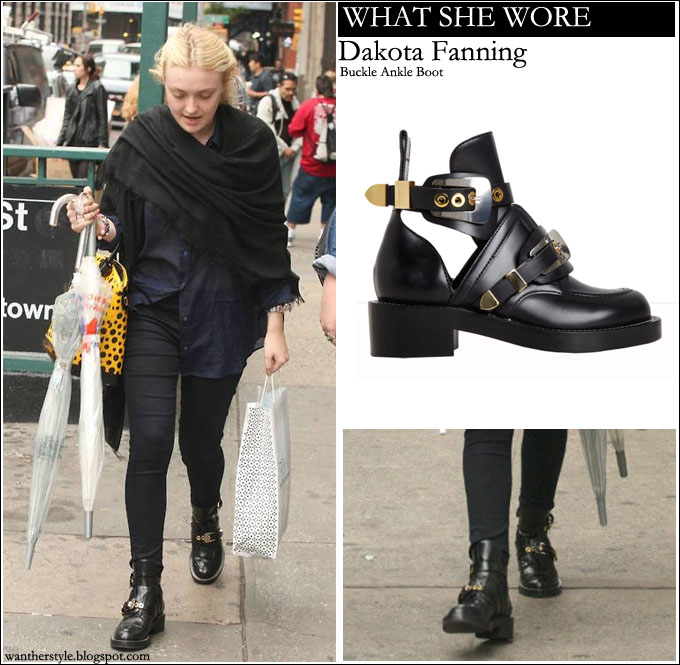 WHAT SHE WORE  Dakota Fanning in black buckle ankle boots ~ I want her style  - What celebrities wore and where to buy it. Celebrity Style 374e1edfacb