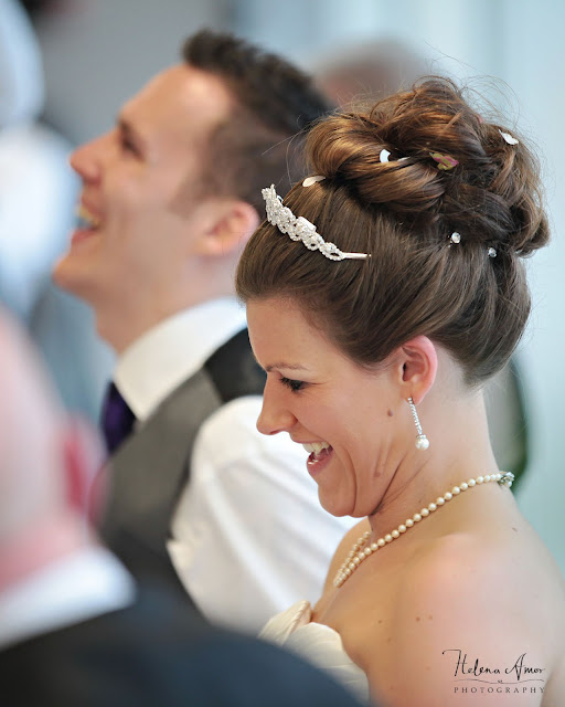 bride and groom laughing during the speeches at Aegeas bowl wedding