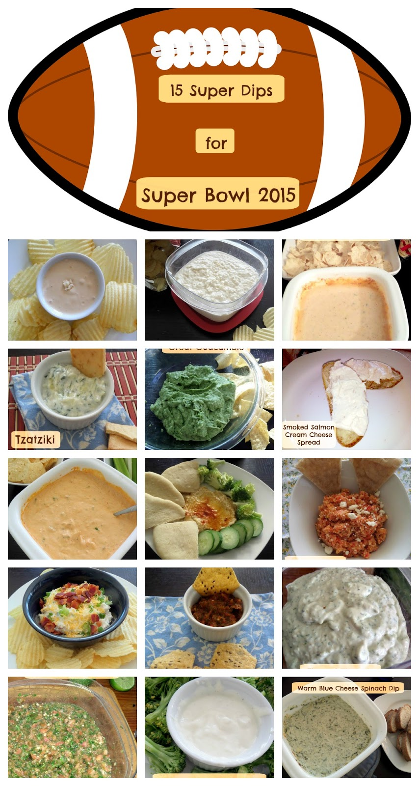 15 Super Dips for Super Bowl 2015:  A roundup of 15 dips, salsas, and spreads to make any Super Bowl party super.  I sure love dips.