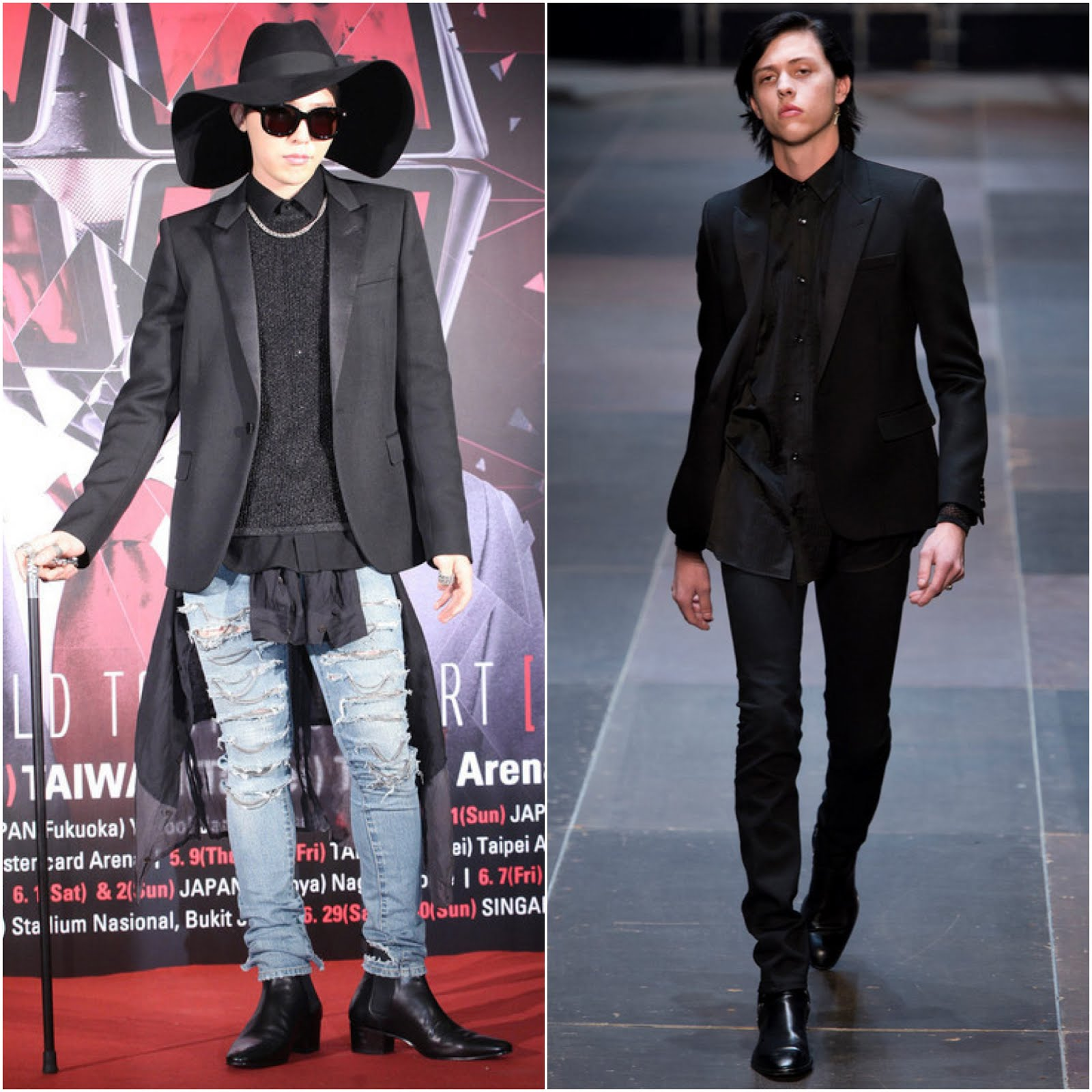 00O00 Menswear Blog http://00O00.blogspot.com G-Dragon Big Bang in Saint Laurent - World Tour Taiwan Promo [GD权志龙台北宣传个唱]