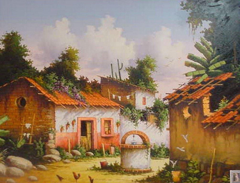 Pinturas cuadros lienzos casas de pueblos mexicanos for La casa de las pinturas