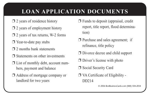 What documents are needed for a loan