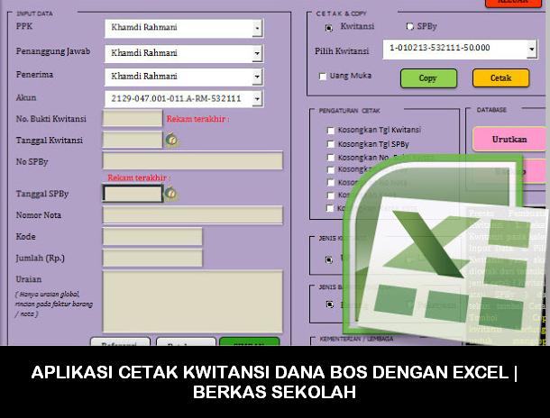 Aplikasi Cetak Kwitansi Dana Bos Dengan Excel Berkas