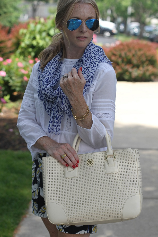 Tory Burch handbag, Ray Ban sunglasses