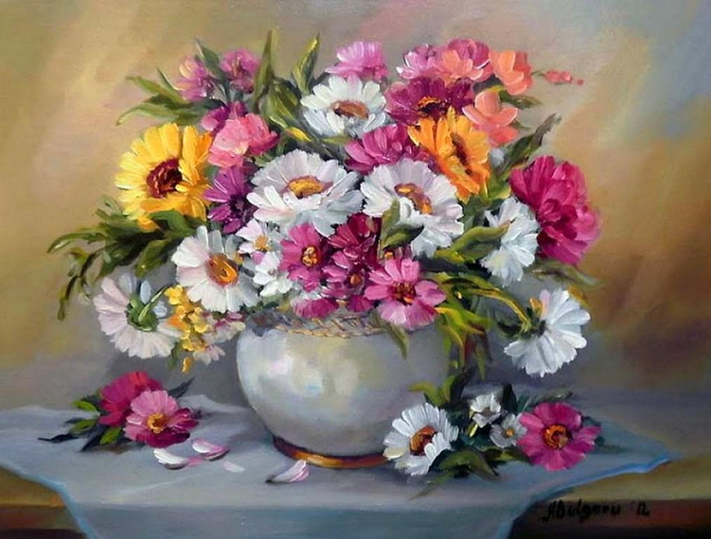 Im genes arte pinturas bodeg n con jarrones de flores for Jarrones de decoracion modernos