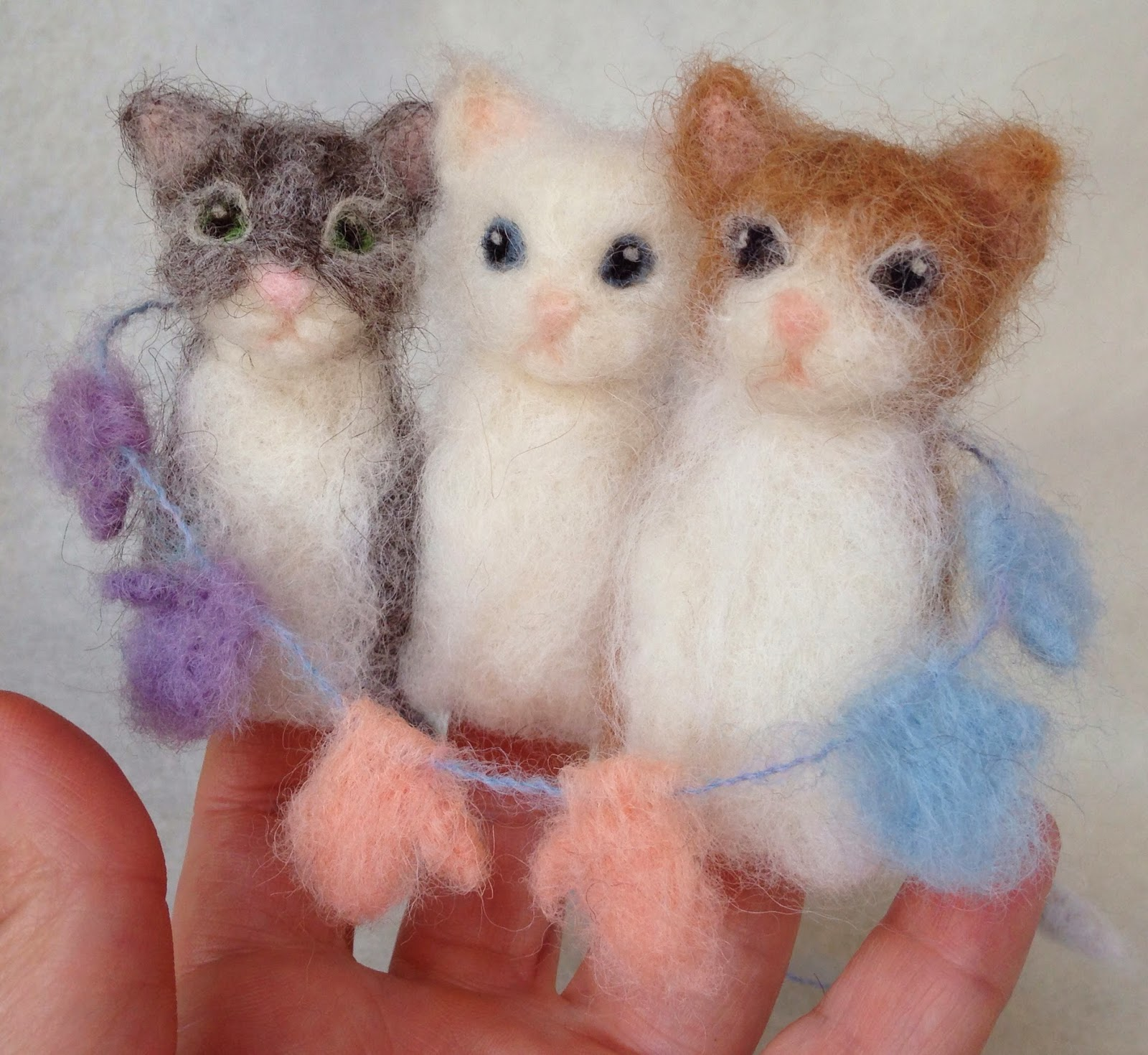 Three Little Kittens Needle Felted Finger Puppets