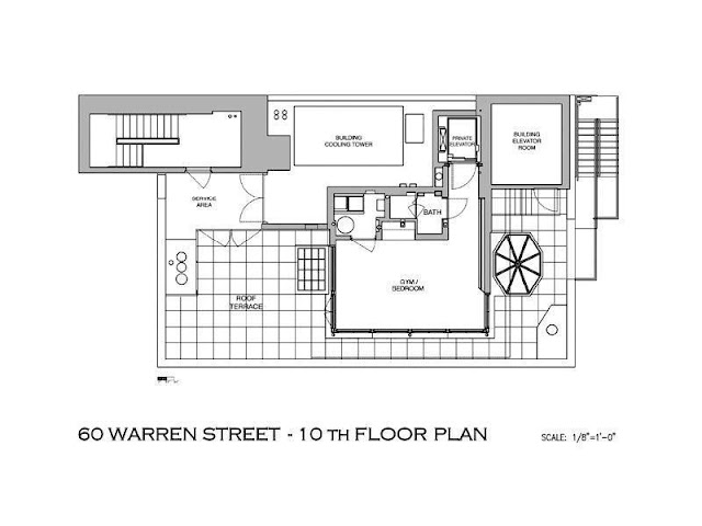 Floor plan of tenth floor of Tribeca penthouse