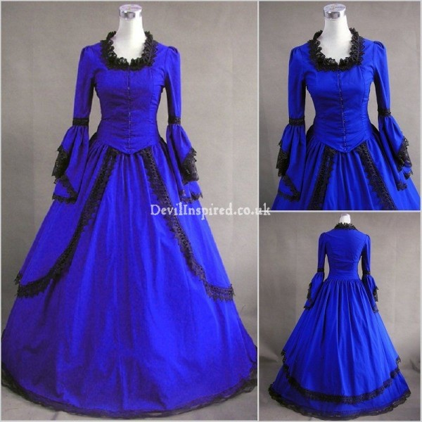 Vintage Royal Blue Lace Gothic Victorian Dress