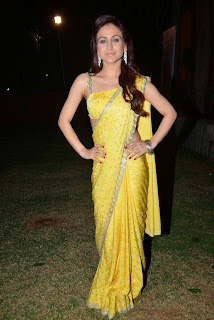 Actress Aksha Pardasany Latest Pictures in Yellow Saree at Dr Salim Audio Launch  7.JPG