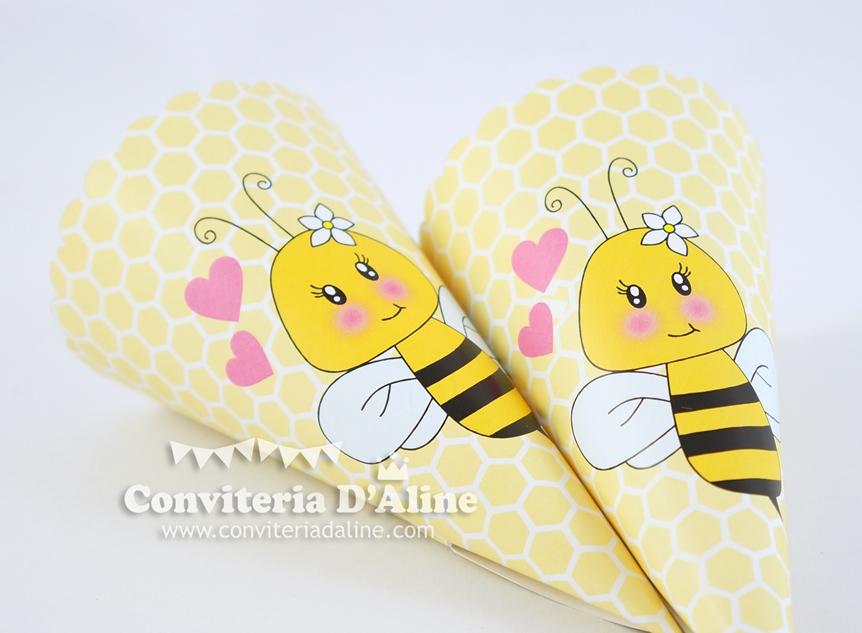 cone personalizado lembrança festa abelhinha