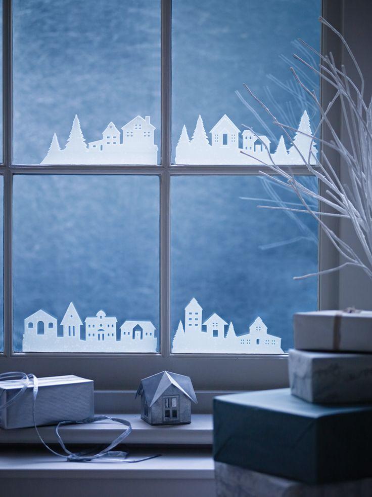 juleby som udklip på vinduet