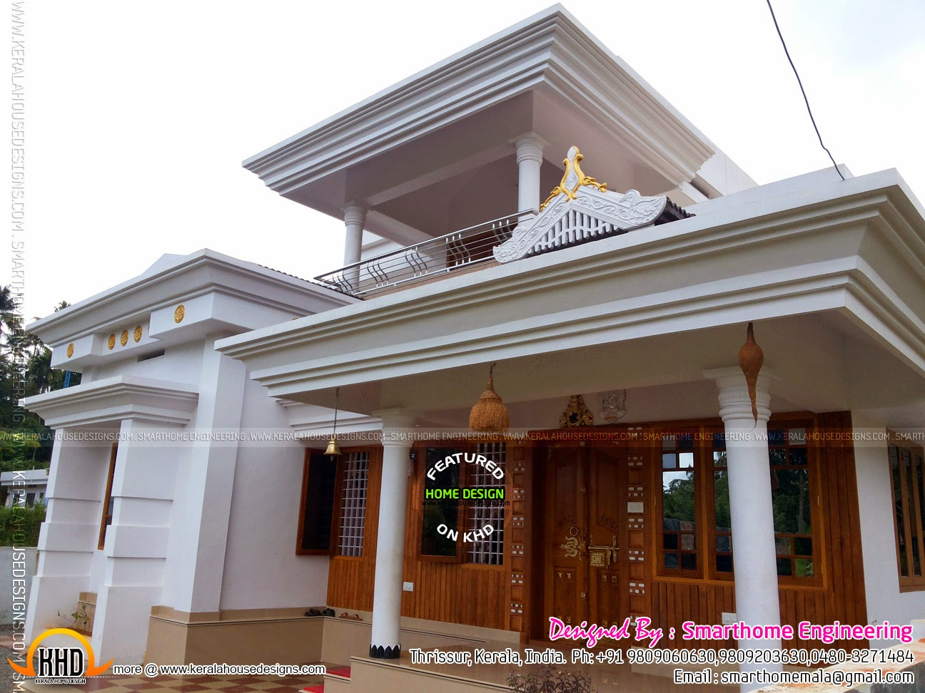 Front Elevation House Balcony : Furnished house with photos kerala home design and floor
