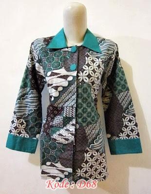 blouse kantor batik kombinasi