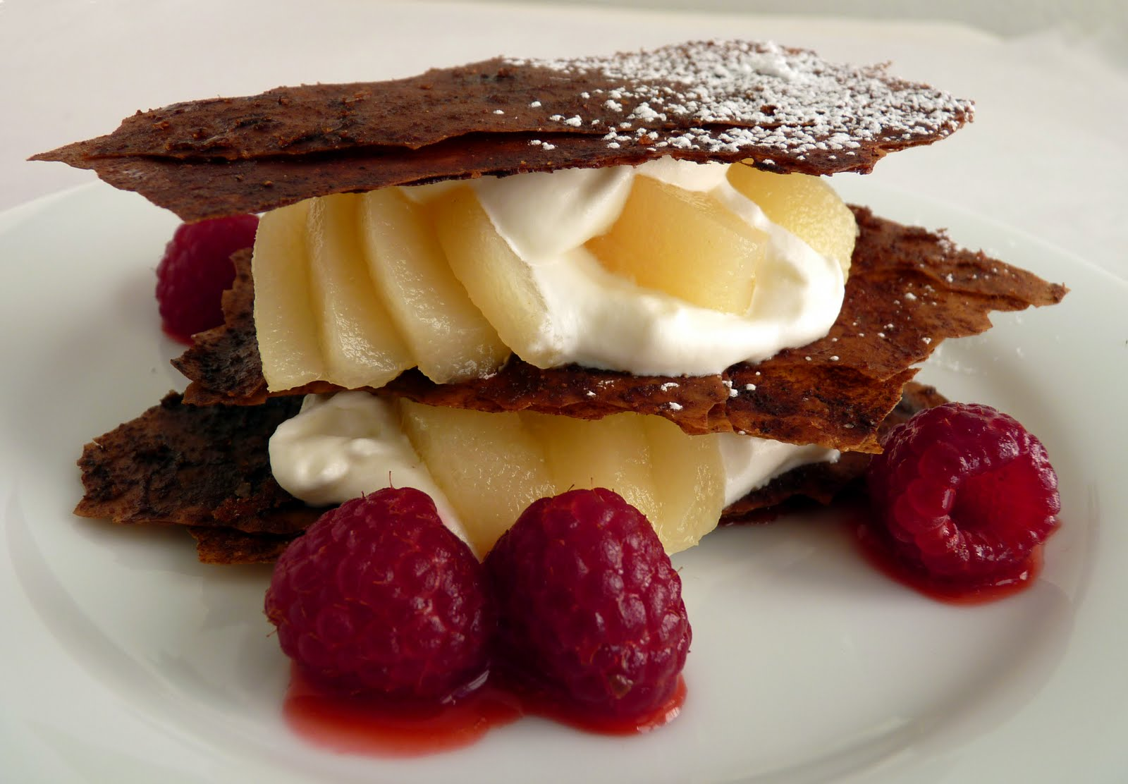 pastry studio: Chocolate Phyllo Napoleons with Pear and Raspberries