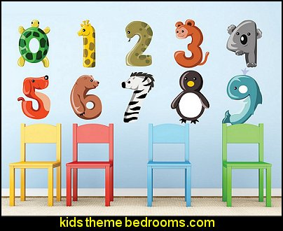 Animal Numbers Fabric Wall Decals, Set of Colorful Numbers from 0 to 9, Turtle, Giraffe, Monkey & More