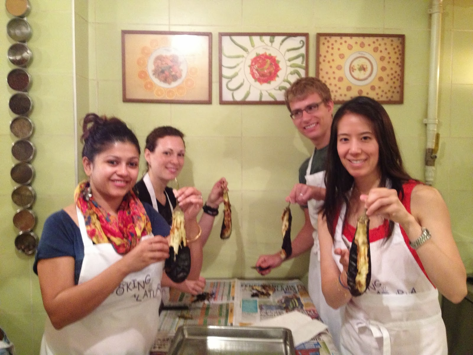 Istanbul - We took a cooking class with Cooking Alaturka. We're removing the skin from roasted eggplant.