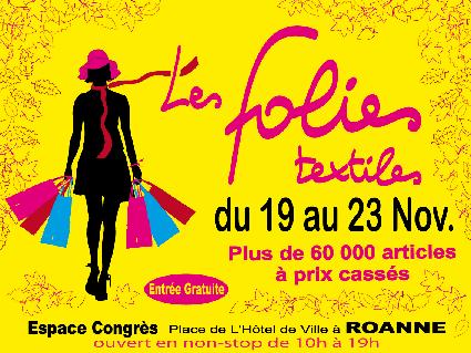 vente privée à Roanne en novembre 2014 Les Folies Textiles