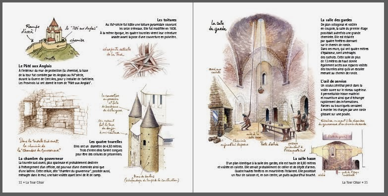 Les tourelles et la salle des gardes de la Tour César