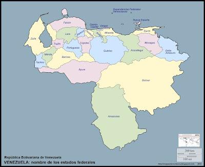 Mapa mudo de VENEZUELA, nombre de los estados federales