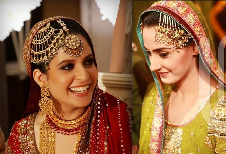 Mehndi Hairstyles With Jhumar : Orange and pinkk jewelery essentials jhoomar matha patti