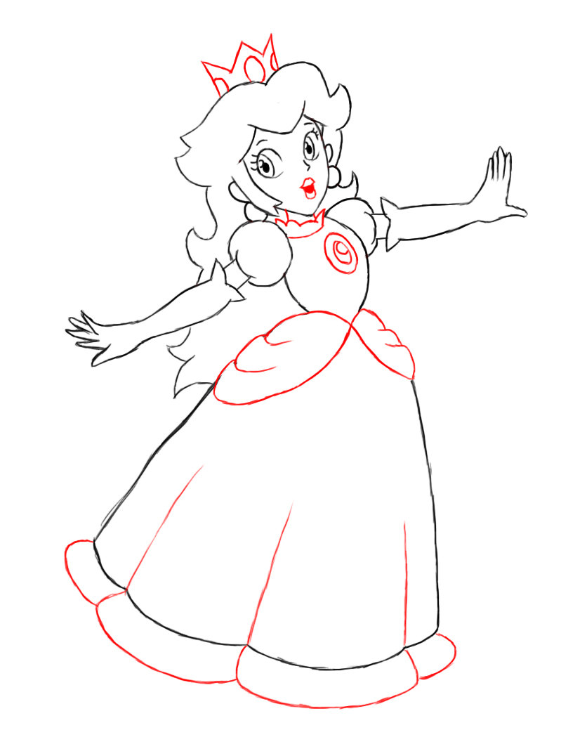 At This Point, Peach Is Pretty Muchpletely Drawn All That Is Left To  Do Now Is To Give Her A Small, Heartshaped Mouth, Her Three Pointed Crown,