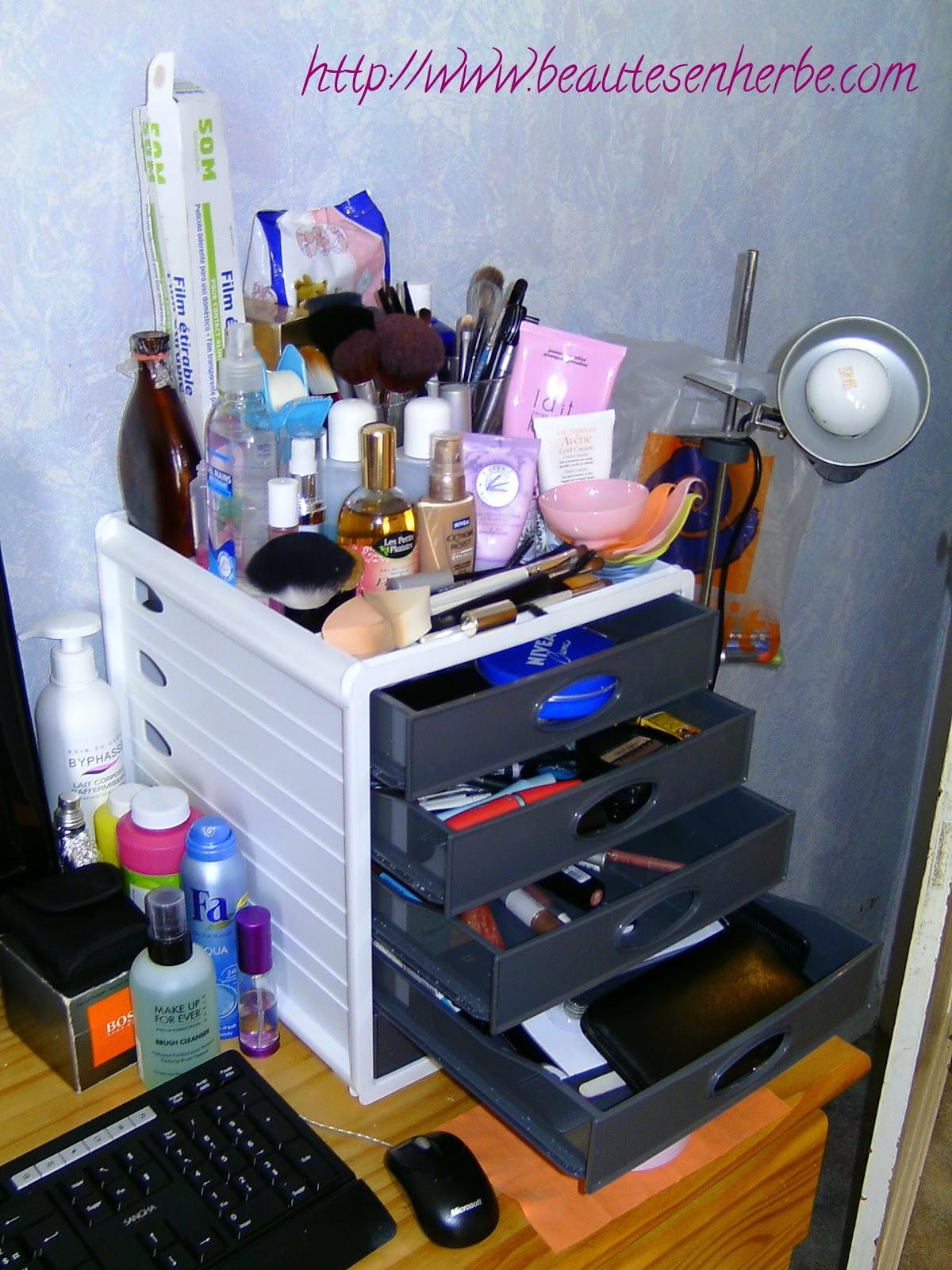 beaut s en herbe mon rangement maquillage trouvailles. Black Bedroom Furniture Sets. Home Design Ideas