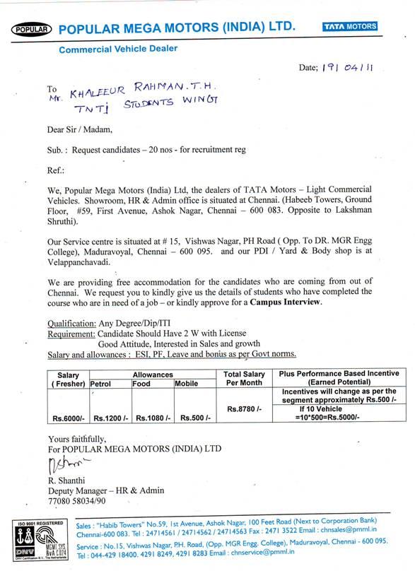 Education job portal 2011 04 24 for Tata motors recruitment process
