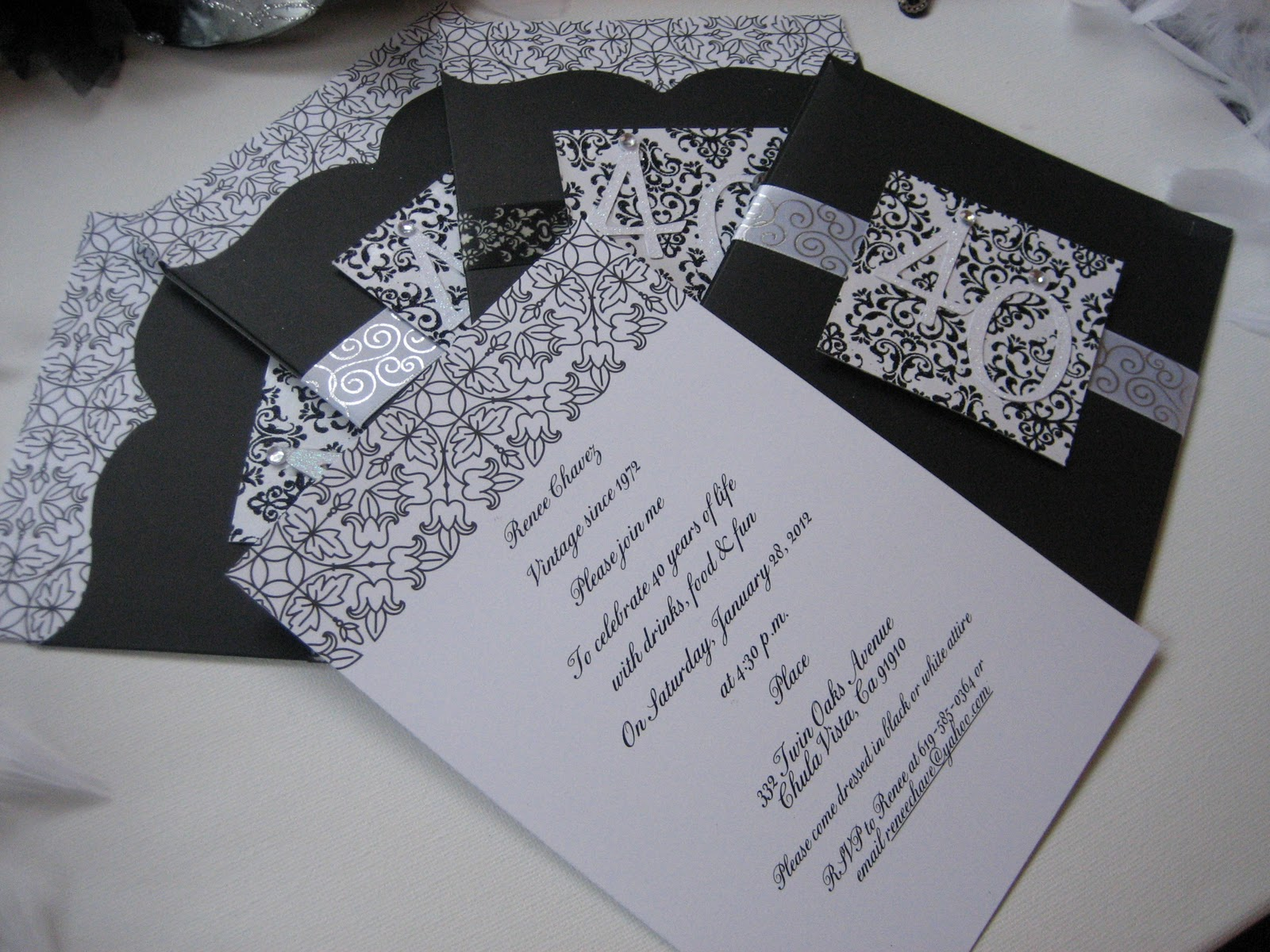 The Sweet & Simple Sisters: Black & White 40th Birthday Invites