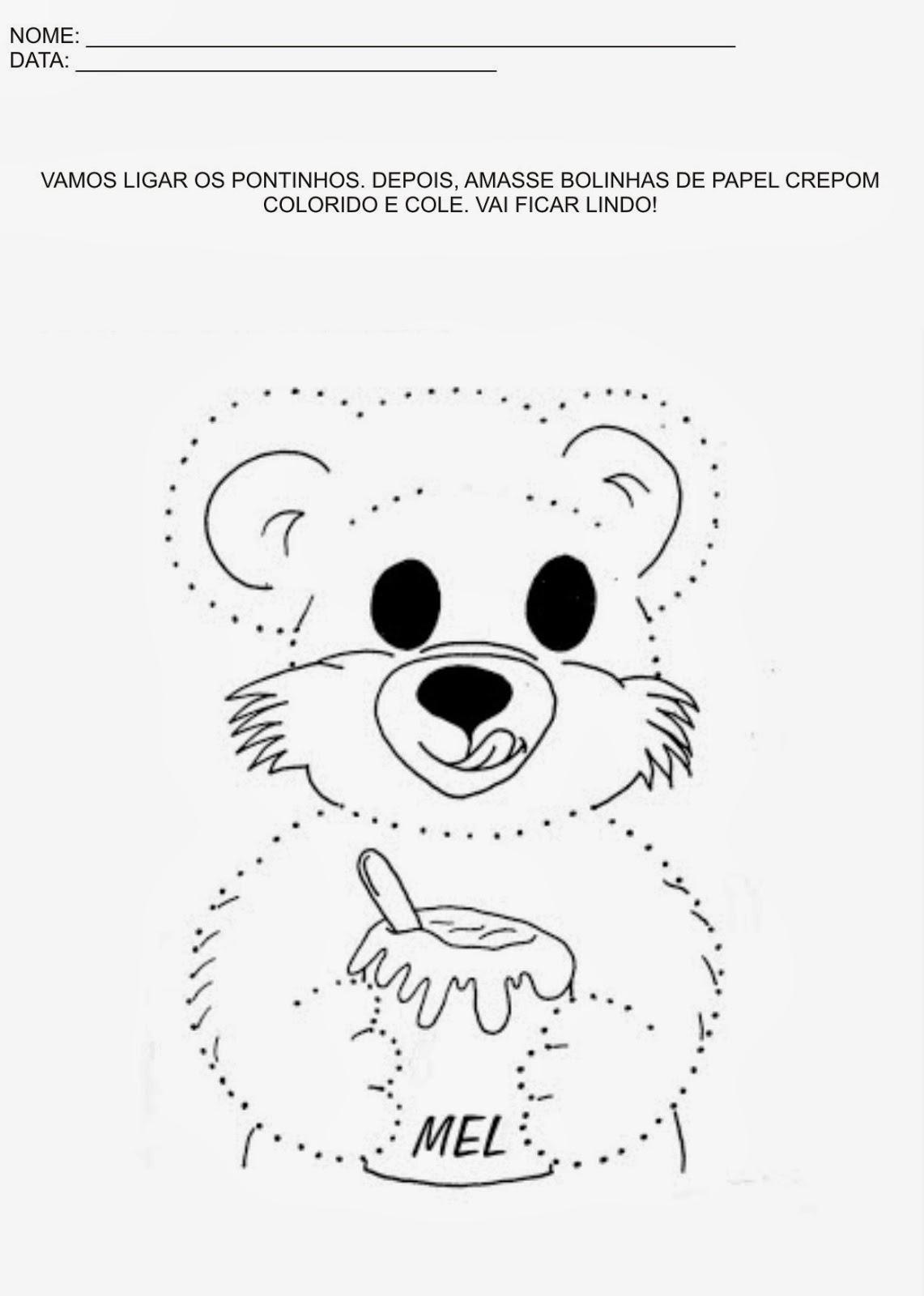 Atividades Educação Infantil - Ligue os pontos e enfeite o urso