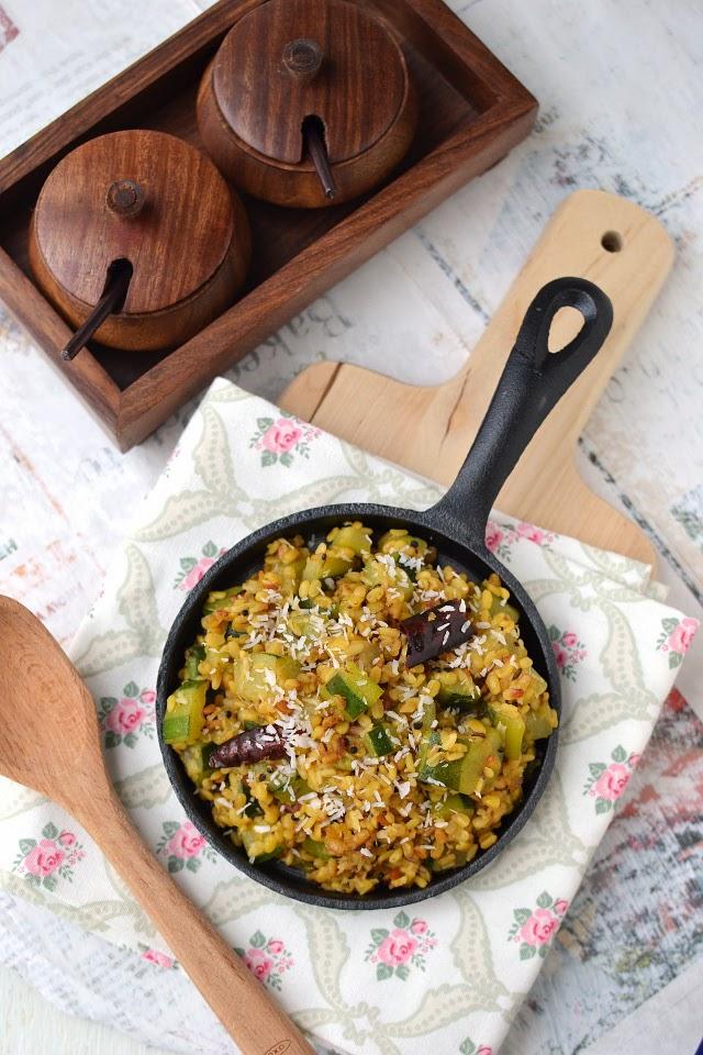 Zucchini Dry Curry (Zucchini Pesarapappu Podi Kura)