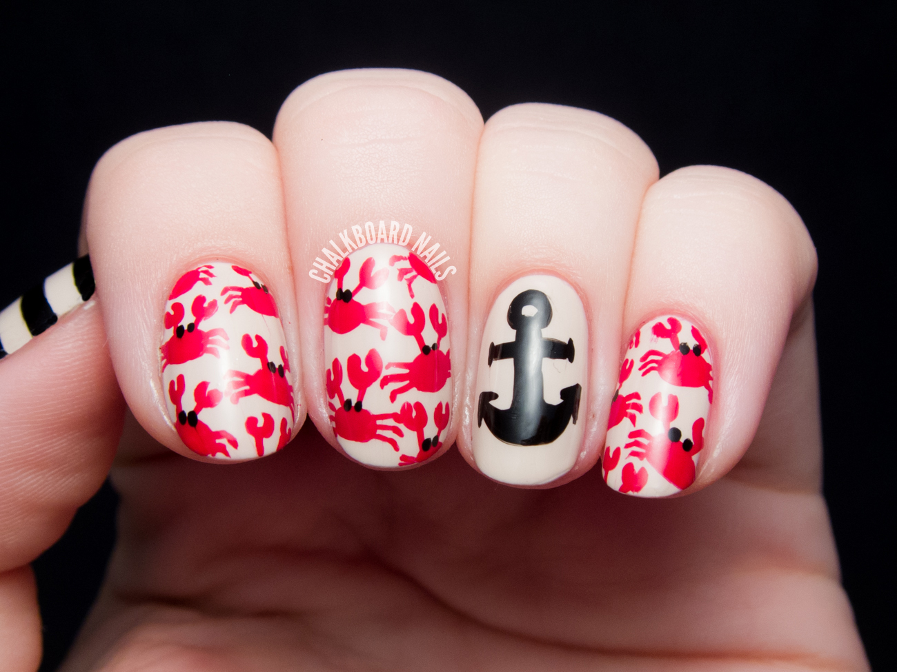 Crab Print and Nautical Mix | Chalkboard Nails | Nail Art Blog