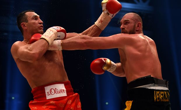 Tyson Fury and Wladimir Klitschko in action in Germany.