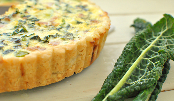 quiche recipe with bacon, kale, zucchini and gruyere